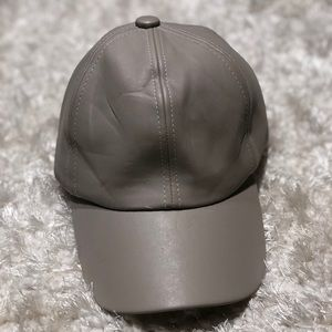 Accessories - Grey Leather baseball cap